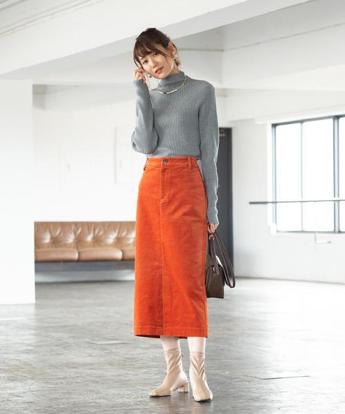 [coen] ベロアタイトロングスカート