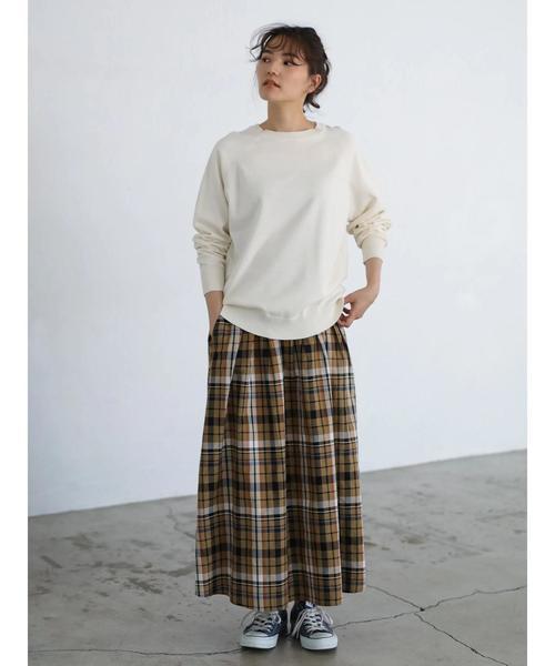 [AMERICAN HOLIC] チェックフロントタックロングスカート