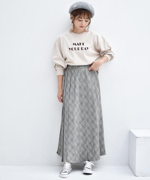 [RETROGIRL] チェックタックプリーツスカート