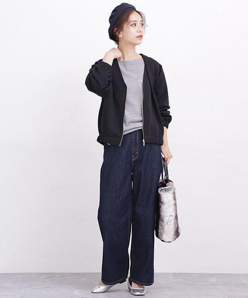パンツを使ったシンプルな秋服