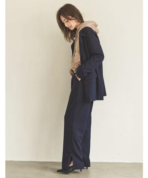 [Re:EDIT] 【安田美沙子さん×Re:EDIT】サイドジップドロップボタンストレートパンツ