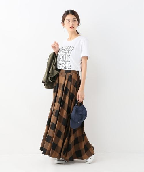 [Spick & Span] ブロックチェック タックフレアーロングスカート◆