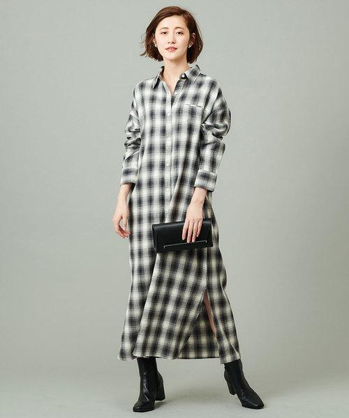 [RIVE DROITE] オンブレチェックシャツワンピース