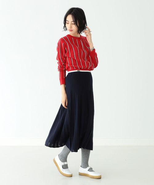 [BEAMS WOMEN] LACOSTE × BEAMS BOY / 別注 ニット プリーツ スカート