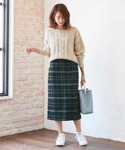[titivate] フェイクツイードタイトスカート