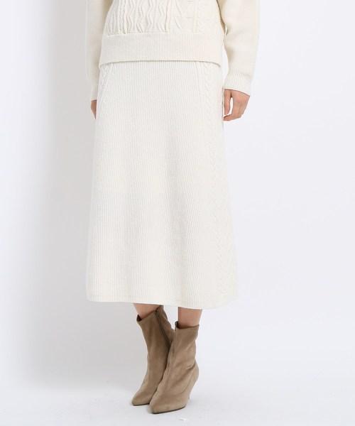 [AG by aquagirl] 【GISELe12月号掲載】ケーブル編みニットフレアスカート