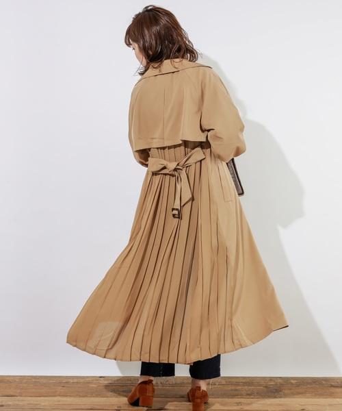 [natural couture] バックプリーツテロンチコート