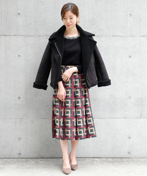 [STRAWBERRY-FIELDS] フェイクムートン ジャケットコート