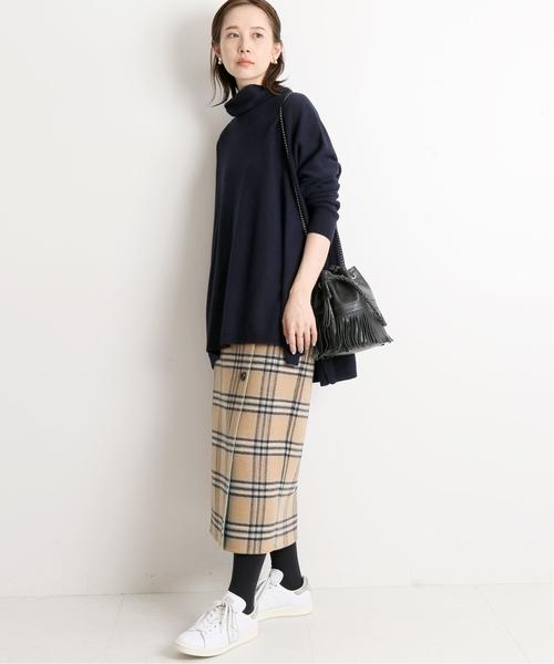 [IENA] Wフェイスリバーシブルミッドカーフスカート◆
