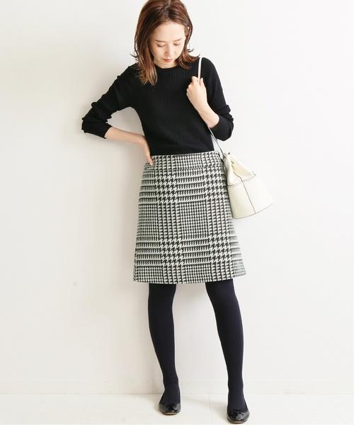 [IENA] ロービングチェック台形スカート◆
