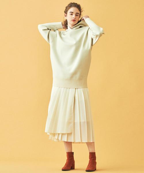 [TOMORROWLAND] ウールプリーツ アシンメトリーラップスカート