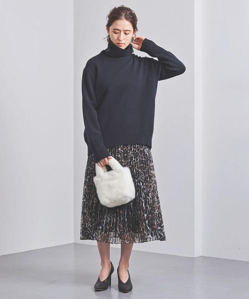 [UNITED ARROWS] UBCB オーガンジー レオパード プリーツスカート