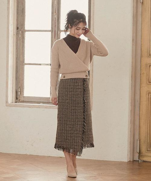 [kobelettuce] ラップ風ツイードタイトロングスカート