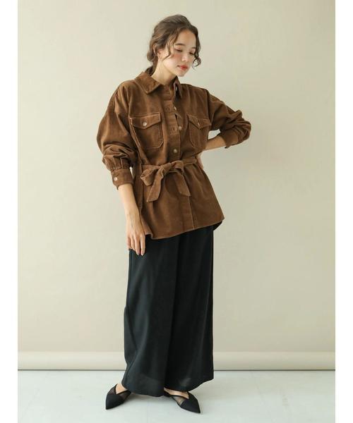 [earth music&ecology] オーガニックコットンコーデュロイワークシャツジャケット
