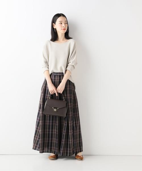 [IENA] チェックタックロングスカート◆