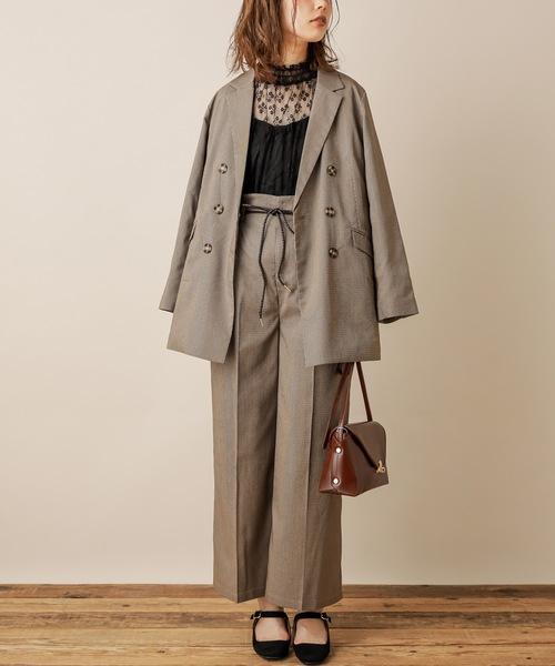 [natural couture] 合皮ベルト付きワイドパンツ
