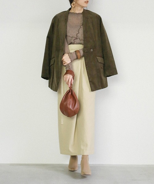 [select MOCA] ウエストベルトラップスカート(コットンブレンドバックスリットロングスカート)