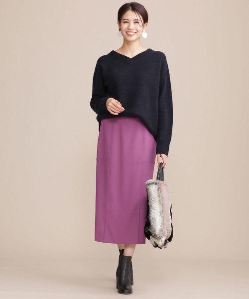 [nano・universe] フロントベンツIラインスカート