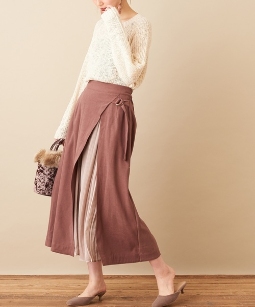 [natural couture] 微配色プリーツ切替えスカート