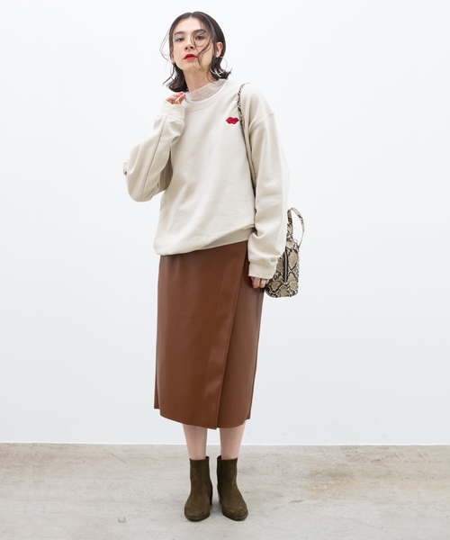 [ROPE'] エコレザーラップタイトスカート