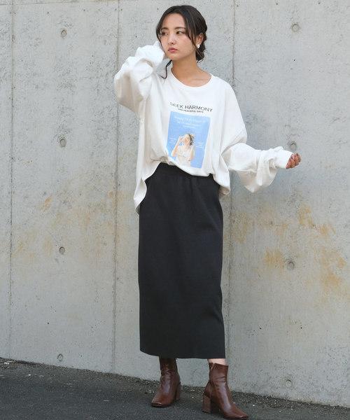 [ANDJ] ベーシックリブニットロングスカート