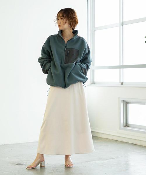 [coen] 【新色:ワインレッド登場】パウダータッチサテンロングスカート