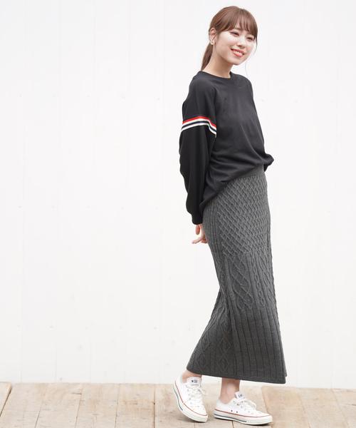 [rps] 編地ブロッキングニットスカート