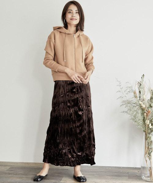 [BASEMENT online] ベロアプリーツロングスカート