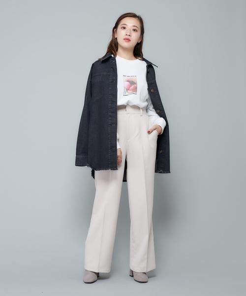 [CIAOPANIC] ウエストベルト付きビッグシルエットデニムシャツジャケット