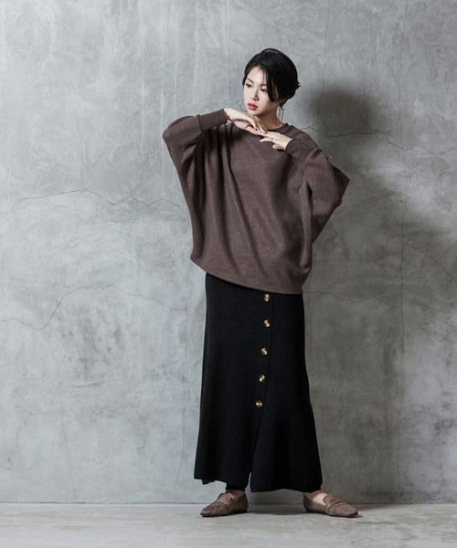 [titivate] フェイクラップ台形ニットスカート