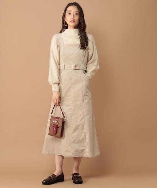 [mysty woman] 別珍Aラインジャンパースカート 858166