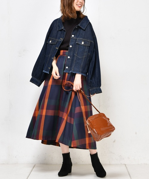 [natural couture] BIGチェックフレアスカート