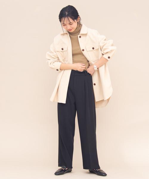 1[YARD PLUS/AUNT MARIE'S] AUNT MARIE'S メルトンCPOシャツジャケット