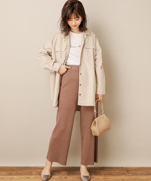 8[natural couture] 共ベルト付ダブルポケットビッグシャツ