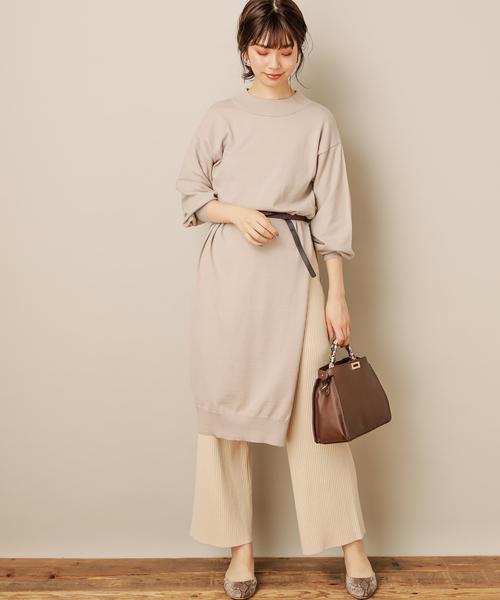[natural couture] ロングスリットもちもちニットワンピース2
