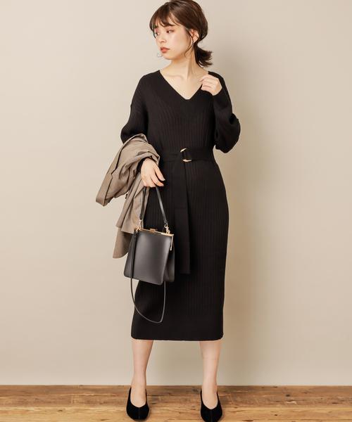 [natural couture] PPワイドリブVネックニットワンピース