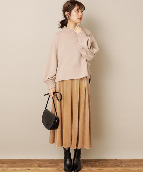 [natural couture] すっきりAラインベロアスカート