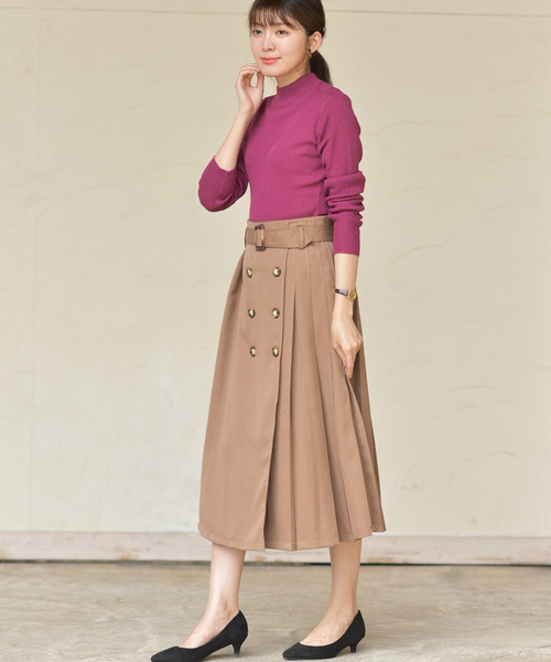 [rps] ベルト付きサイドプリーツトレンチスカート