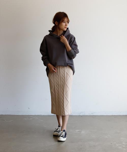 [Auntie Rosa] 【Holiday】ケーブルニットタイトスカート◆WEB限定◆