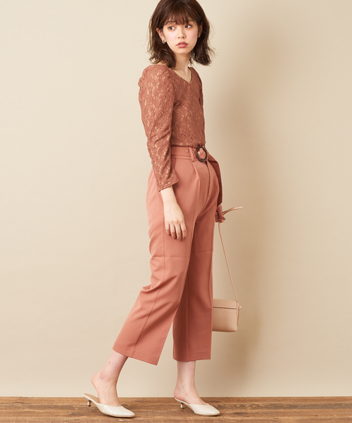 [natural couture] 無地ベルト付きワイドパンツ