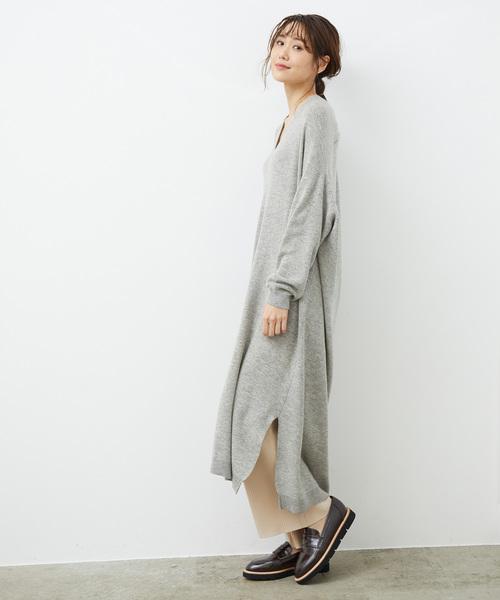 [ROPE' PICNIC] 【WEB限定】抜け衿ニットワンピース