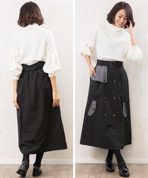 [mili an deni] ツィードケープ切替トレンチスカート