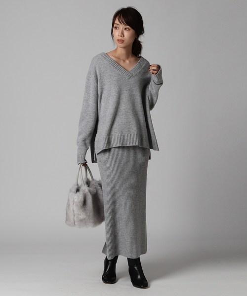 [UNTITLED] 【洗える】ロングリブスリットタイトスカート