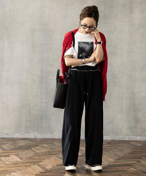 [kobelettuce] 【WEARISTA田中亜希子さん×KOBE LETTUCEコラボ】裏起毛センタープレススウェットワイドパンツ