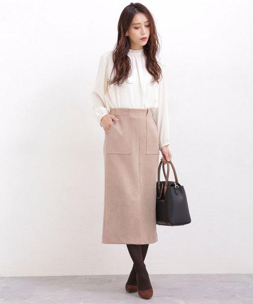 [nano・universe] 【WEB限定】ストレッチFスエードタイトスカート