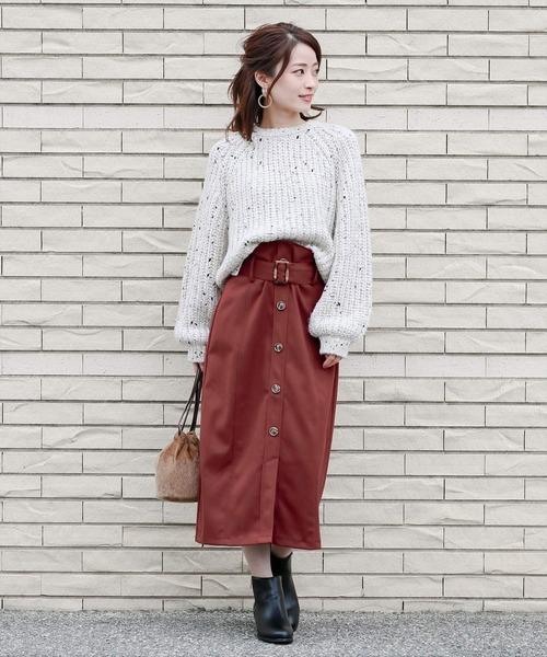 [clear] ≪2019AW新作≫フロントボタンウエストベルトタイトスカート