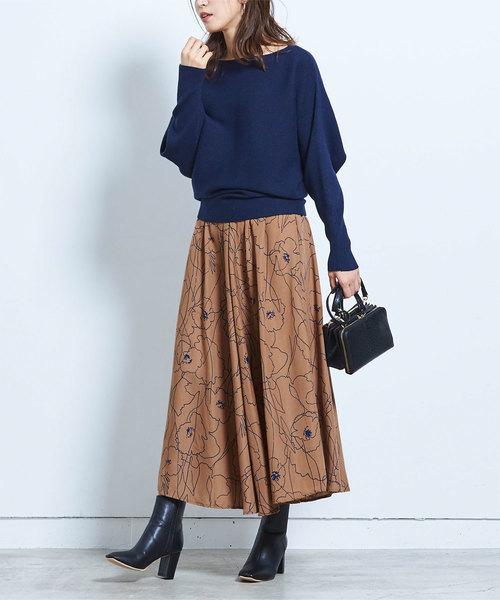 [ur's] ニュアンスフラワーマキシ丈スカート