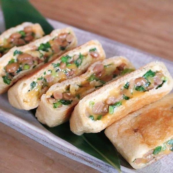 納豆チーズの油揚げ包み焼き