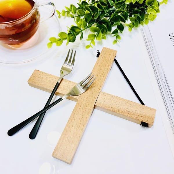 バイカラーヒメフォーク&木製クロス鍋敷き