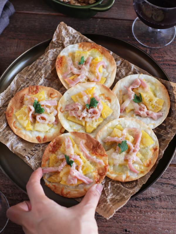 柿と生ハムのおつまみピザ8